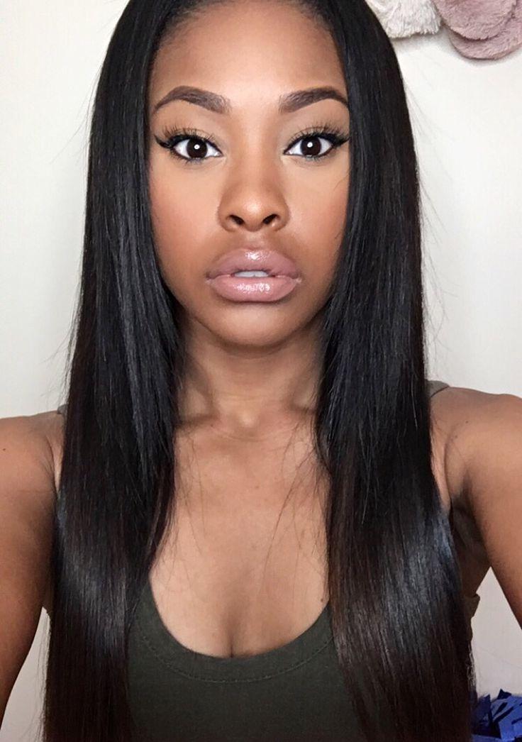 Bone Straight Weave Natural Full Face Makeup