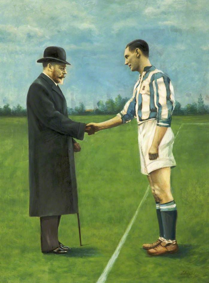 Huddersfield Town Footballer Meets King George V on the edge of the penalty area