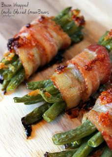 Bacon Wrapped Garlic Glazed Green Beans by joandsue.blogspot.com