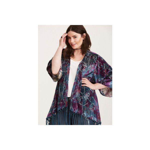 Torrid Harry Potter Astronomy Fringe Kimono ($44) ❤ liked on Polyvore featuring intimates, robes, plus size, purple, women's plus size robes, velvet burnout kimono, velvet kimono, plus size dressing gown and womens plus size bathrobes