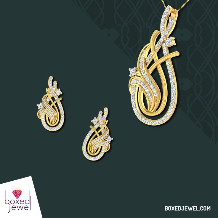 Open the shining box of her eternal happiness by gifting her the perfect set of #Earrings and #Pendants. www.boxedjewel.com #Gold #Gift