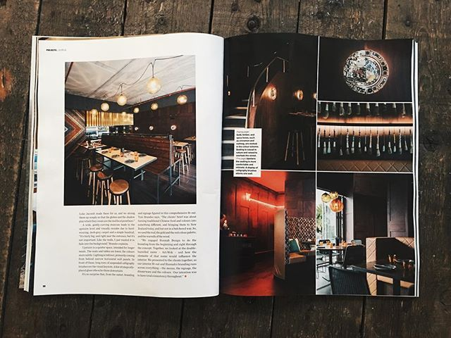 Our hospo project @artwok graces the pages of the latest Interior Magazine NZ  #materialcreative #hospitalitydesign  @jeremytoth