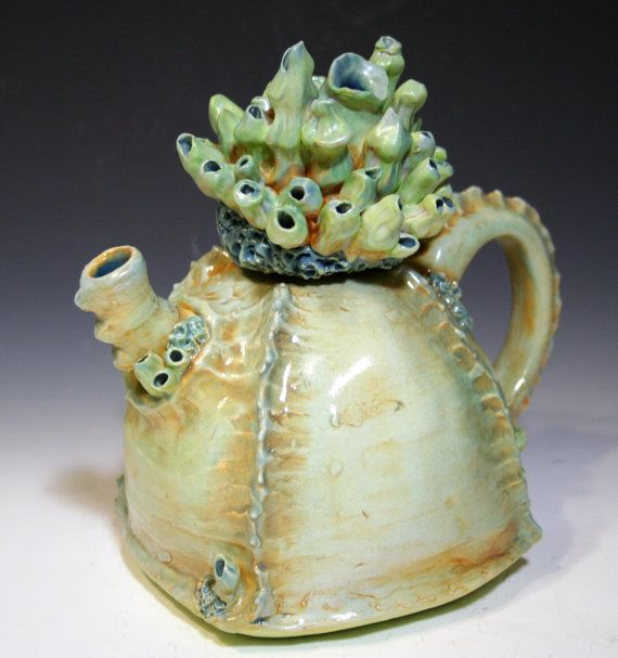 Coral Reef  Sea Shell inspired Ceramic Teapot Ocean by clayforms