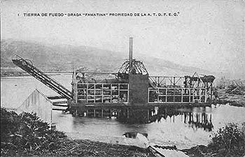 Unknown location in Tierra del Fuego, gold dredge  c1910.  Discoveries of alluvial gold in the 1880s caused a minor gold-rush in Tierra del Fuego, and various industrial-scale operations were subsequently mounted. When work stopped, the migrant work force resettled and the bulky dredges were often abandoned. Source: www.patfotos.org