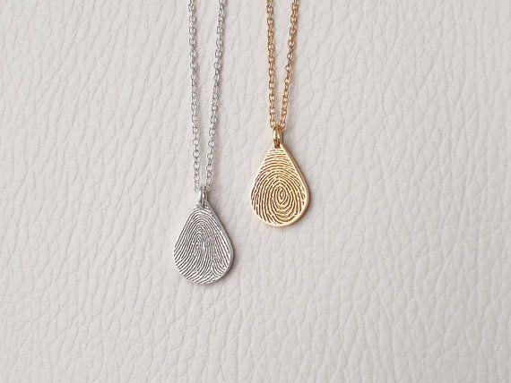 Dainty Teardrop Fingerprint Necklace by GracePersonalized on Etsy