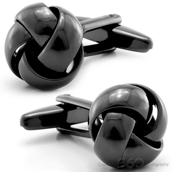 Black Sleek Knots Cufflinks, Fine Men's Jewelry