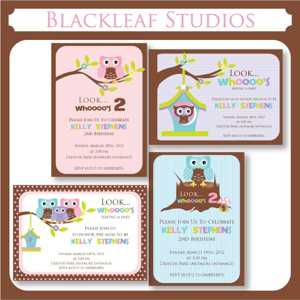 These adorable little Owls themed invitation templates can be used as birthday cards, baby shower invitations, thank you cards, birth announcement cards, etc.,    The file contains 4 different invitation card templates