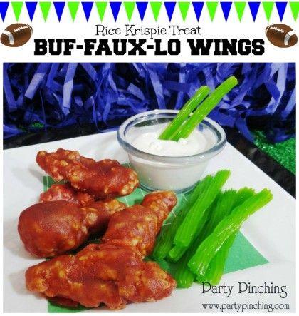 rice krispie treat wings, buffalo wings, april fool's day food, super bowl dessert ideas, super bowl party ideas