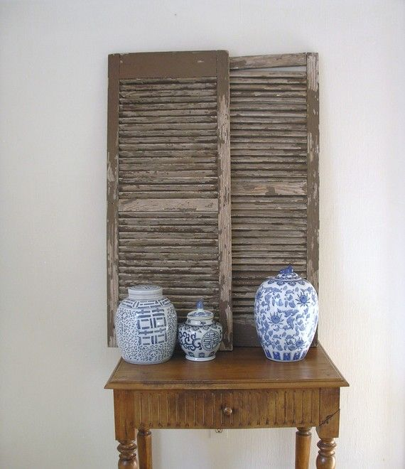 Pair Old Wooden Shutters by PlaceMichel @sun San #vintage #decor #wood