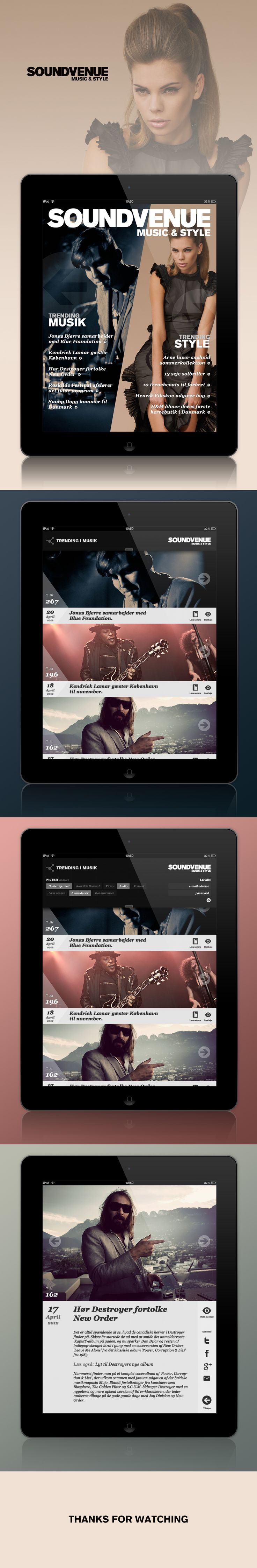 Soundvenue - Interaction Design, UI/UX. This case was a school project at DMJX. Soundvenue is a magazine focusing on music and style and our assignment was to design a tablet concept version of their actual website. My concept was to highlight the most trending stories and styles combined together with the staffs usual content. iPad App Design, Concept, Music & Style, Lifestyle, Soundvenue.