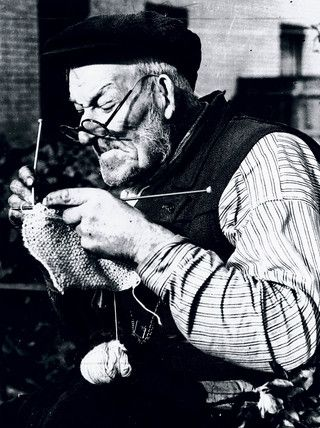 """This was the caption I found """"Elderly man knitting as part of the war effort during WWII, 31 October 1939."""" This is what it makes me dream of: fairy tales and chidhood"""