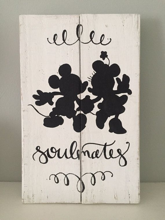 Mickey & Minnie Customizable Sign ~ Disney Wedding/ Anniversary, Reclaimed Wood, Rustic Hand Painted Sign, Rustic Home Decor, Disney Sign