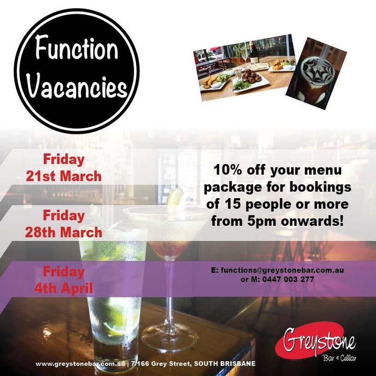 18.03.14- We have function vacancies coming up!