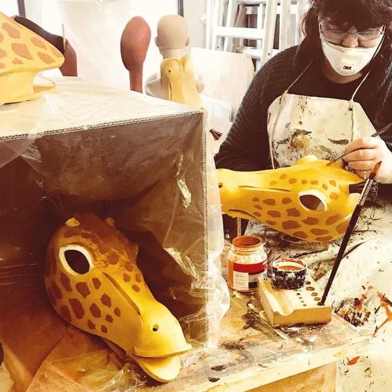 Giraffe costume mask ADULT animal headdress head High style African beastie! Lion King masquerade mask Hand made by Tentacle Studio