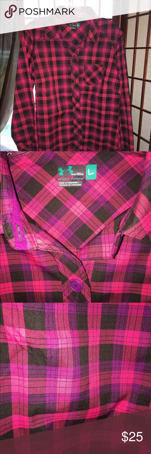 Under Armoir semi fitted plaid shirt! NWOT Show your BCA pride👛💕👄👚👙Very cute and perfect for fall. Stay comfortable in shades of pink, purple and black 😘😘Please bundle to save. Proceeds benefitting Susan G Komen Foundation Under Armour Tops Button Down Shirts