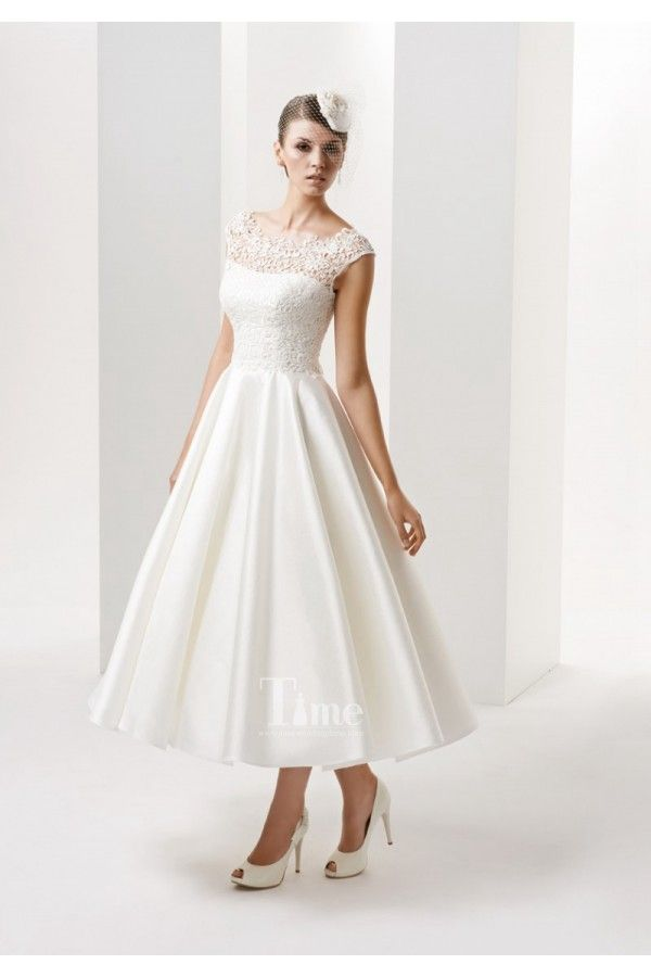 Tea Length Vintage Lace High Neck Cap Sleeve Ball Gown Short Wedding Dresses Bridal Gowns