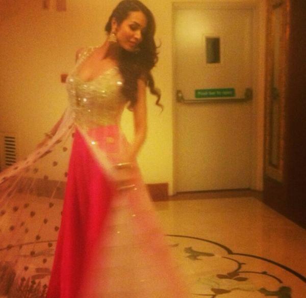 One of Malaika Arora Khan's Outfits at Salman Khan's Sis Arpita's Wedding w/ Aayush Sharma at @TajHotels' Falaknuma Palace, Hyderabad, Nov 18