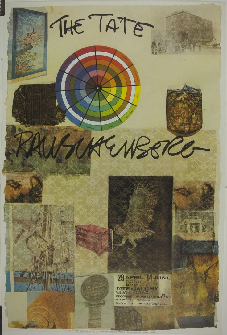 Description: Robert Rauschenberg exhibition poster for the Tate Gallery depicting an example of his collage work. Read more about Rauschenberg here.