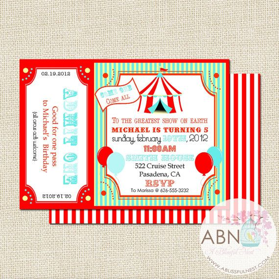 54 best carnival ideas images on Pinterest Circus party - circus party invitation