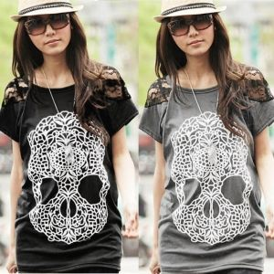 Women's Top Lace Patchwork Shoulders Skull Prints Front T-Shirt
