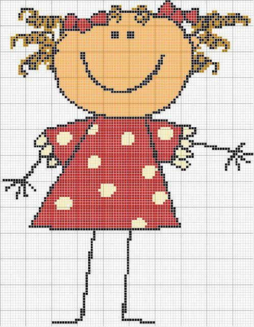 ♥Meus Gráficos De Ponto Cruz♥: Boneca e Boneco Palito em Ponto Cruz + Alfabeto-2ª parte