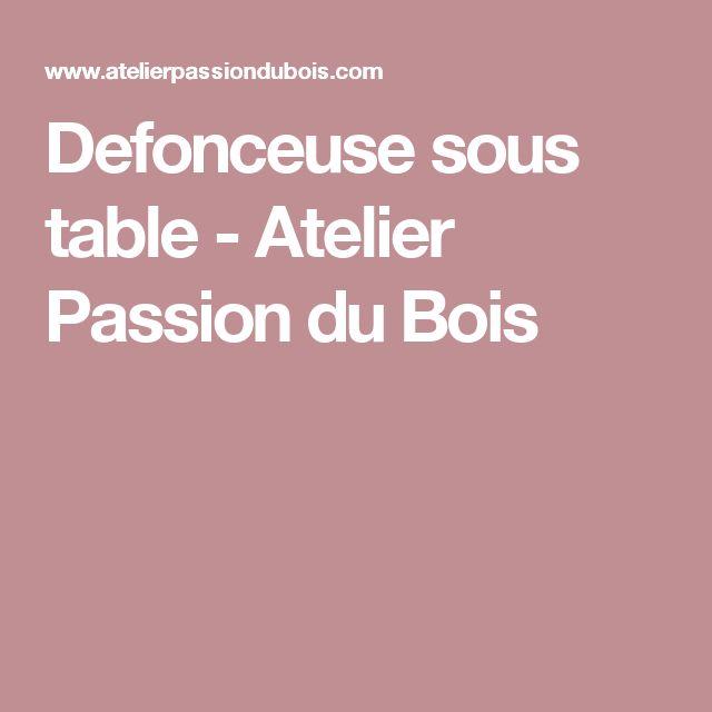 Defonceuse sous table - Atelier Passion du Bois