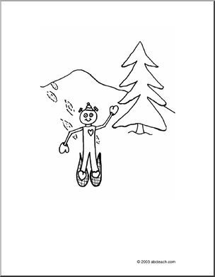 Coloring Page: Space Aliens - Snowshoeing -