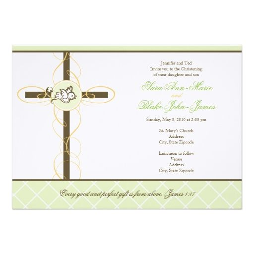 1813 best Baptism \ Christening Invitations images on Pinterest - sample baptismal invitation for twins