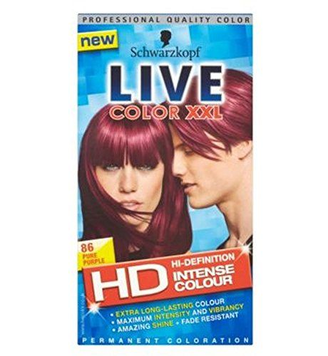 Schwarzkopf Live Color Xxl Hd 86 Pure Purple Permanent Purple Hair Dye - Pack of 6 -- You can find more details by visiting the image link. (Amazon affiliate link)