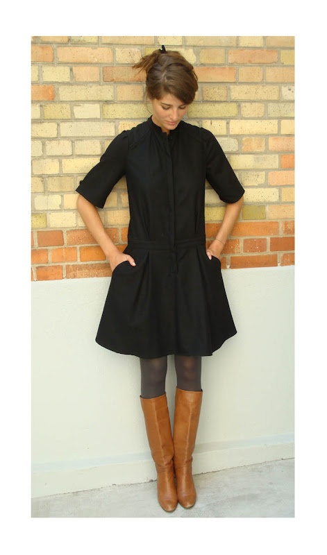 Fall casual work look: black shirt dress, gray tights, cognac boots