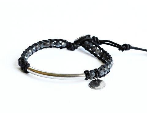 Men's black leather bracelet made of steel and labradorite