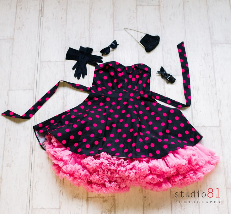 Black and Hot Pink Polka Dot Dress (Size 10), Pink Petticoat, Black Audrey Sunglasses, Black Gloves, Black Sequin Bow Clip, Beaded Black Bag