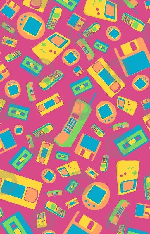 90s Technology Pattern