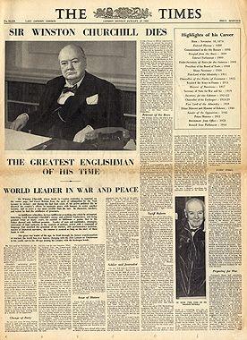 Newspaper announcement of his death.  http://www.rosettabooks.com/author/winston-churchill/