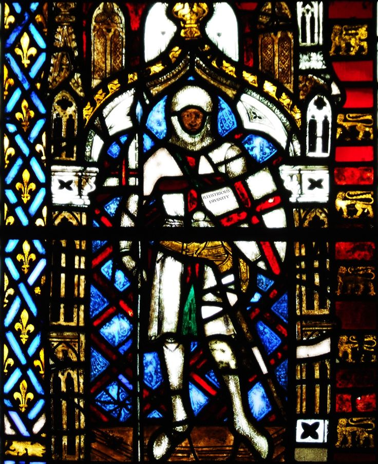 (14th c.) Medieval Stained Glass depiction of St. GEORGE… A MOOR, from St George Church in Brinsop, Hereford, England…