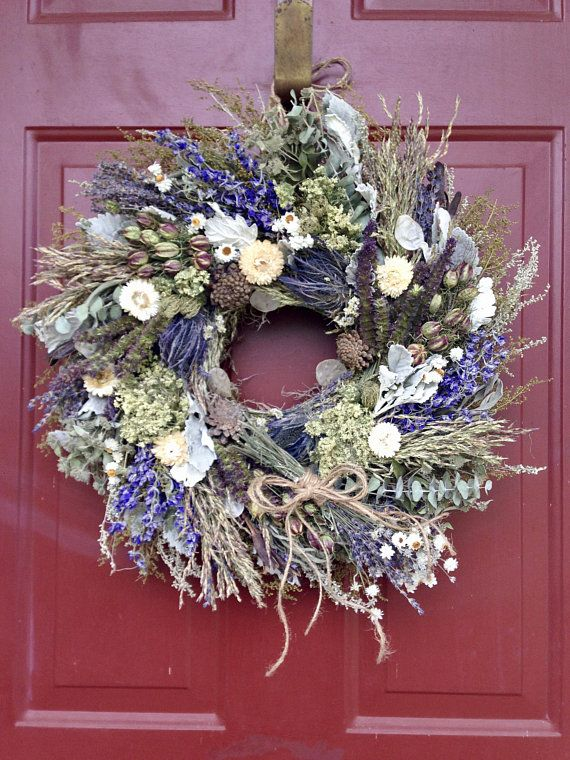 Green and White Arrangement Handmade Natural Preserved Floral Wreath All Season Decorative Wreath Dried Floral Home Accent