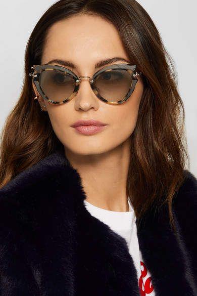 8979bb33437 Miu Miu - Cat-eye Canvas-trimmed Acetate And Gold-tone Sunglasses -  Tortoiseshell ad