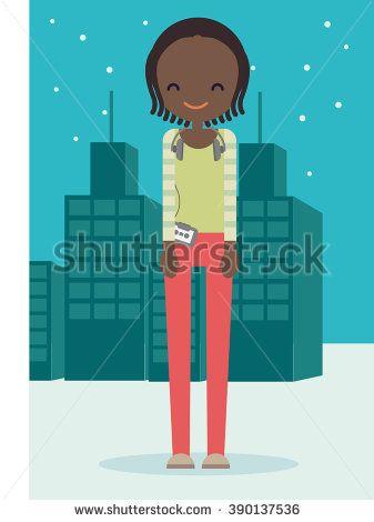 Cute African American Girl Cartoon in Flat vector style - stock vector