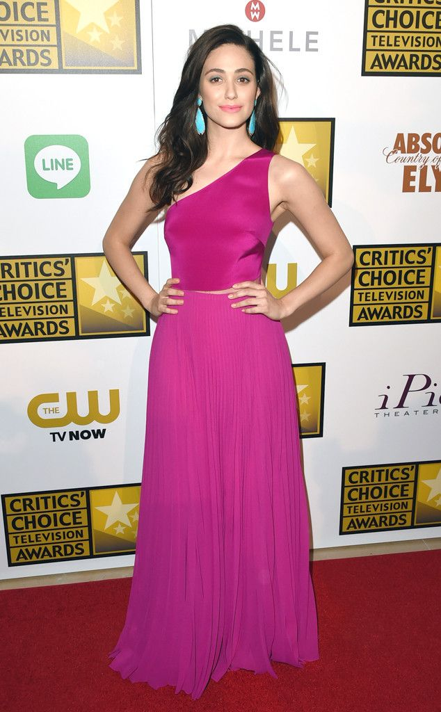 Emmy Rossum rocks a colorful Monique Lhiullier look at the 2014 Critics Choice Awards!