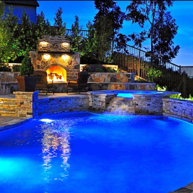 Amazing backyard pool: Swimming Pools, Pool Ideas, Dream House, Outdoor, Fireplace, Backyards