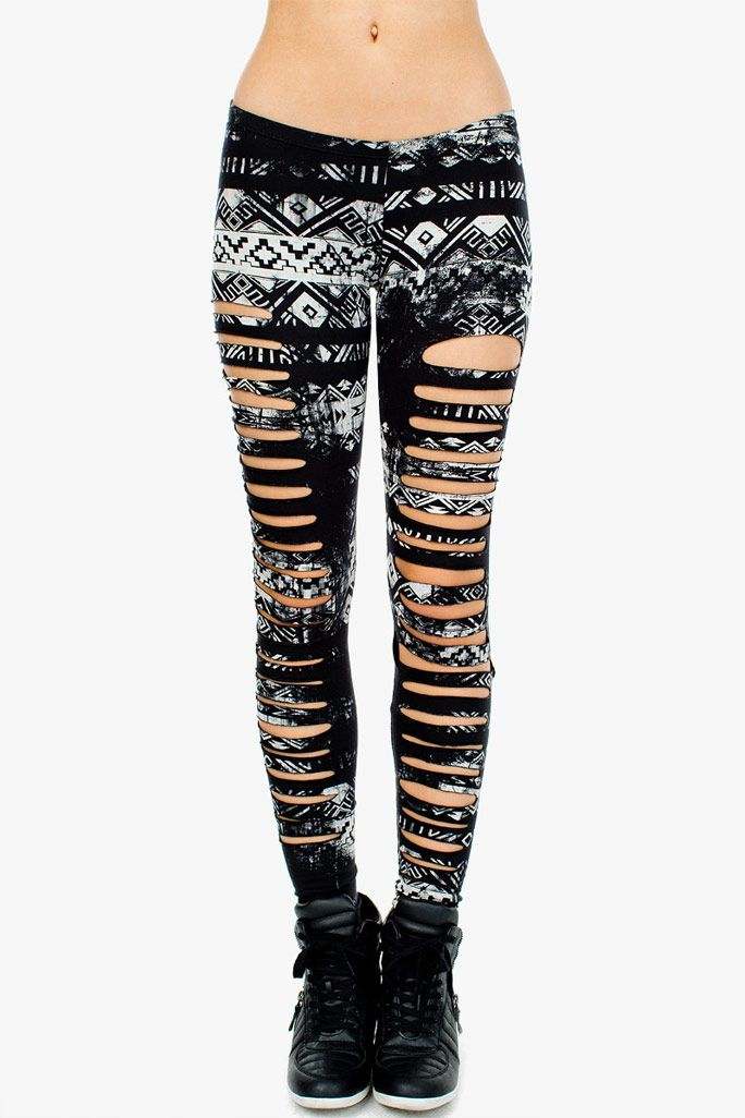 Tribal printed leggings with a slashed body