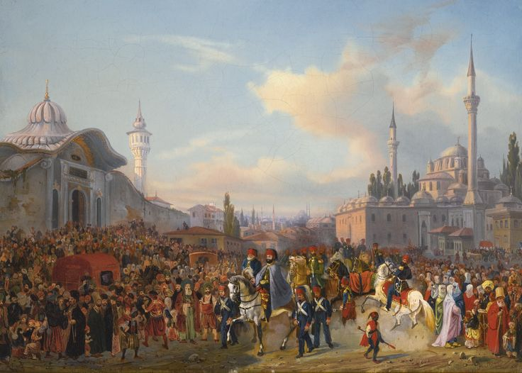 Auguste Mayer SULTAN MAHMUD II LEAVING THE BEYAZIT MOSQUE, CONSTANTINOPLE, 1837 | Sotheby's