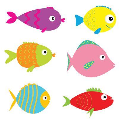 Bonito conjunto de peixes dos desenhos animados.  Isolado. - ilustração de arte…