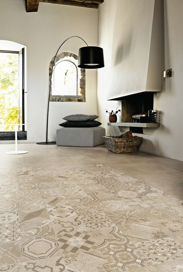 Porcelain stoneware wall/floor #tiles with #concrete effect MEMORIES by CERAMICA SANT'AGOSTINO #fireplace @sant_agostino