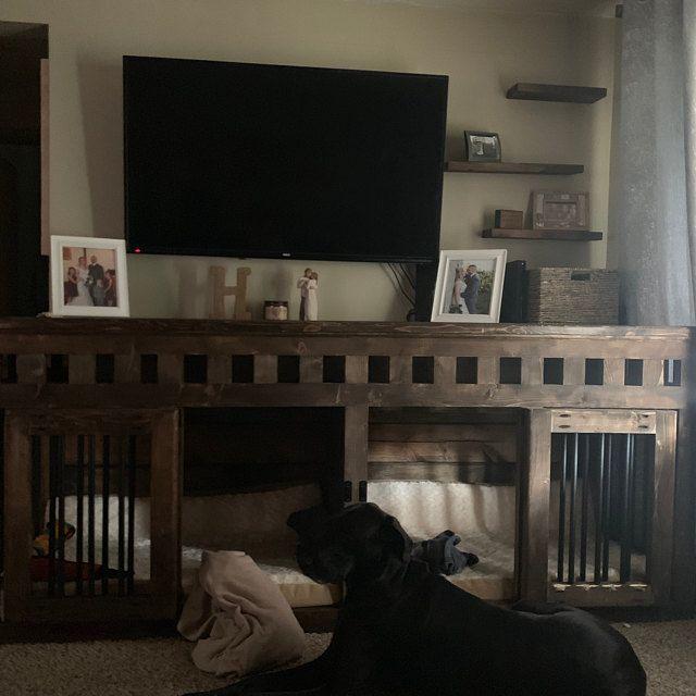Large Wooden Double Dog Kennel Furniture Dog Crate Furniture Etsy Dog Kennel Furniture Dog Crate Dog Kennel