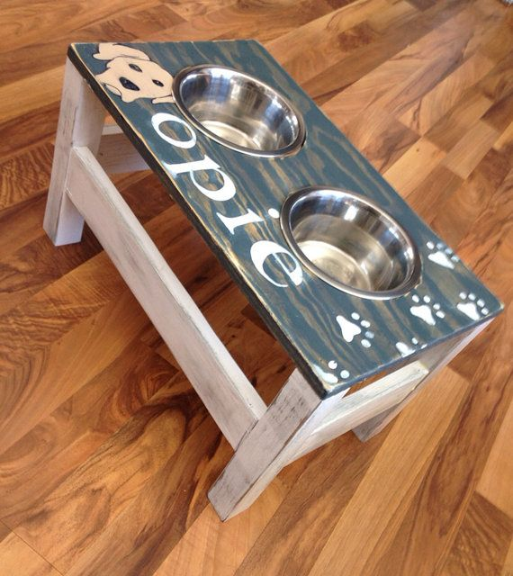 Personalized Dog Dish Stand Rustic Wood By