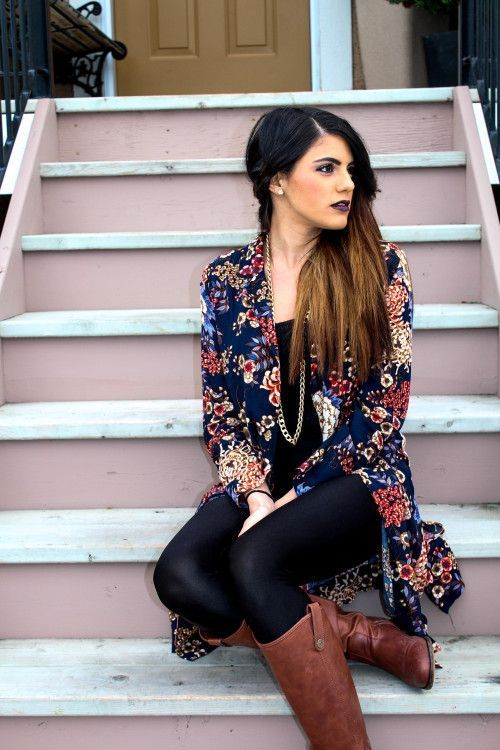 Black top, black leggings, boots, floral kimono or top