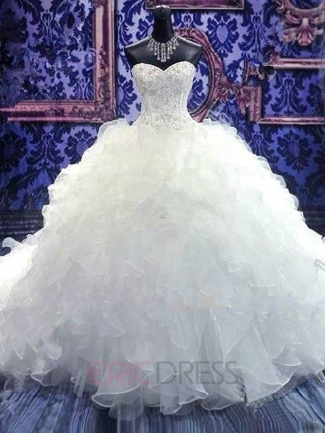 ericdress.com offers high quality  Amazing Beaded Sweetheart Tiered Ruffles Cathedral Wedding Dress Wedding Dresses 2015 unit price of $ 213.89.