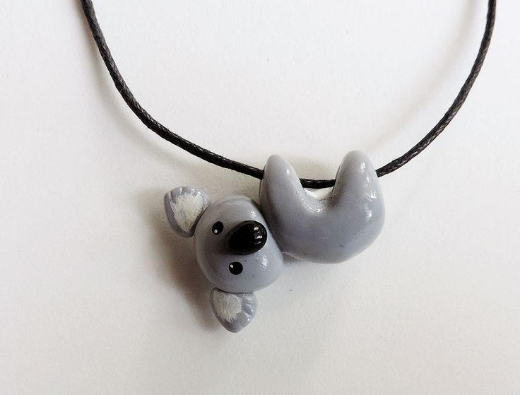 Hanging Koala Necklace Cute Polymer Clay Pendant by cbexpress