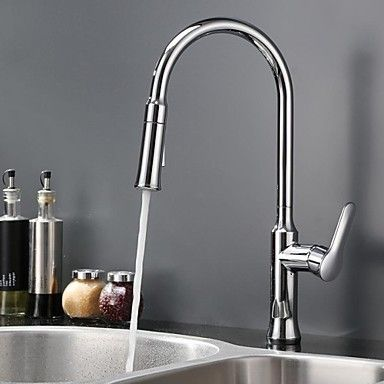 HPB™ Contemporary Pullout Spray Chrome Finish Brass One Hole Single Handle Kitchen Faucet